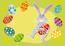 Easter rabbit with easter eggs Royalty Free Stock Images