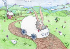 Easter Rabbit egg-car XXXL Royalty Free Stock Photos