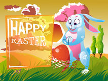 Easter rabbit with an egg. Is on the grass on a background of a spring landscape. Festive  cartoon illustration Stock Image