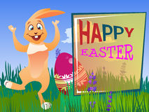 Easter rabbit with an egg. Is on the grass on a background of a spring landscape. Festive  cartoon illustration Stock Photos