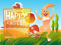 Easter rabbit with an egg. Is on the grass on a background of a spring landscape. Festive vector cartoon illustration Stock Images