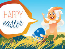 Easter rabbit with an egg. Is on the grass on a background of a spring landscape. Festive vector cartoon illustration Stock Photo