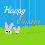 Easter rabbit and egg in grass Royalty Free Stock Photography