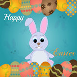 Easter rabbit and egg in grass Stock Photos
