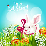 Easter rabbit and egg in green grass greeting card Royalty Free Stock Photo
