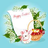 Easter rabbit, egg greeting card with copy space Royalty Free Stock Image