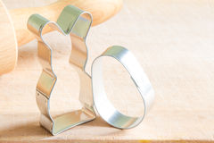 Easter rabbit and egg pastry cutters Royalty Free Stock Images