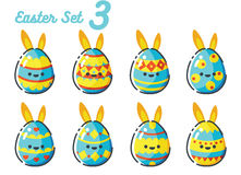 Easter Rabbit Egg set 3. Concept Stock Photo
