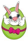 Easter rabbit on egg show gesture vector illustration