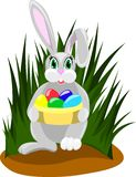 Easter rabbit with colored eggs stock illustration