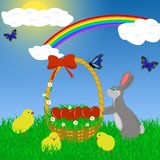 Easter rabbit with eggs Stock Images