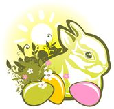 Easter rabbit and eggs. Easter eggs and rabbit, on a green striped background royalty free illustration