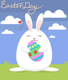 Easter rabbit and eggs. Stock Images