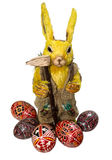 Easter rabbit & eggs. Photo of Easter rabbit and Easter eggs decoration stock photo