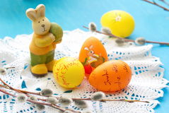 Easter rabbit and eggs Stock Photography
