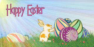 Easter_rabbit_with eggs05 stock illustration