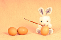 Easter rabbit with eggs Stock Photography