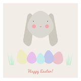 Easter with rabbit and eggs. Vector illustration of Easter with rabbit and eggs Royalty Free Stock Photo