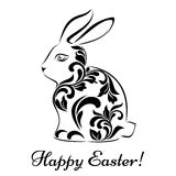 Easter rabbit with floral tracery isolated on a white background Royalty Free Stock Photos