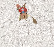 Easter rabbit flower sketch doodle background.  royalty free illustration