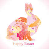 Easter Rabbit with flowers. Easter Rabbit decoration with flowers royalty free illustration