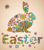 Easter Rabbit with flowers. Illustration Royalty Free Stock Photos