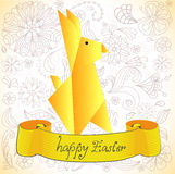 Easter Rabbit with flowers and banner Stock Photos