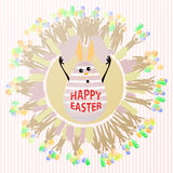 EASTER Rabbit with funny face. EASTER happiness. Rabbit with funny face in a circle of balloons. Illustration for your design. Holiday concept vector illustration