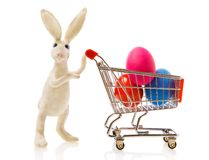 Easter rabbit with a gift. Easter rabbit carries the cart with multi-coloured eggs Royalty Free Stock Images