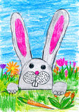 Easter rabbit on green grass meadow with eggs and vegetables, holiday concept, spring season, child drawing on paper Stock Images