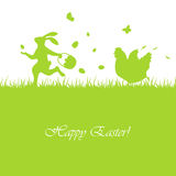 Easter rabbit and hen Royalty Free Stock Image
