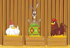 Easter rabbit in the henhouse Stock Photo