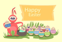 Easter Rabbit Hold Decorated Colorful Egg Holiday Symbols Greeting Card Stock Photography