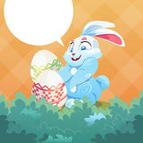 Easter Rabbit Hold Decorated Colorful Egg Holiday Symbols Greeting Card Stock Photo