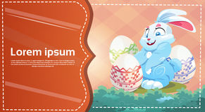 Easter Rabbit Hold Decorated Colorful Egg Holiday Symbols Greeting Card Royalty Free Stock Images
