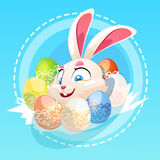 Easter Rabbit Hold Decorated Colorful Egg Holiday Symbols Greeting Card Royalty Free Stock Image