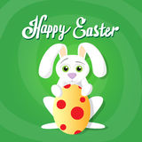Easter Rabbit Hold Decorated Colorful Egg Holiday Symbols Stock Photos