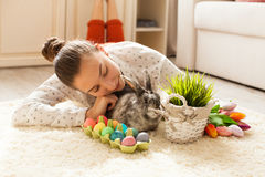 Easter rabbit in home Royalty Free Stock Photos