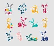 Easter Rabbit Icon Set Design Flat Royalty Free Stock Photos