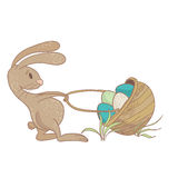 Easter Rabbit illustration. Pulling the basket with colored eggs. Vector eps10 Royalty Free Stock Photos