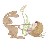 Easter Rabbit illustration. Pulling the basket with colored eggs. Vector eps10 Royalty Free Stock Photo