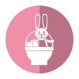 Easter rabbit inside egg basket shadow royalty free illustration