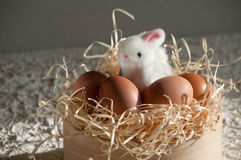 Easter rabbit inside a sieve full of easter eggs on rustic wood Stock Photos