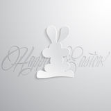 Easter rabbit with lettering. Can be used in postcards. Vector illustration Royalty Free Stock Photos