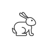 Easter rabbit line icon, outline vector sign, linear pictogram isolated on white. Royalty Free Stock Image