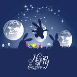 Easter rabbit made moon egg blue background. Silhouette vector Stock Image
