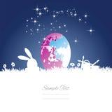 Easter rabbit moon colored egg blue white background. Easter rabbit silhouette moon colored egg blue white background vector Stock Images