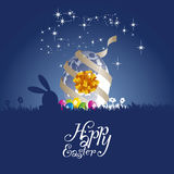 Easter rabbit moon egg gift blue background. Silhouette vector Royalty Free Stock Photo