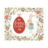 Easter rabbit paint the egg vector illustration