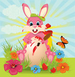 Easter rabbit painted egg Stock Photos